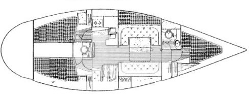 Interior line drawing of our boat; cross-hatched areas are berths.