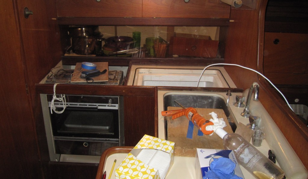 People keep asking us if the boat is all ready to go. This is the galley last week; no, we are not ready!
