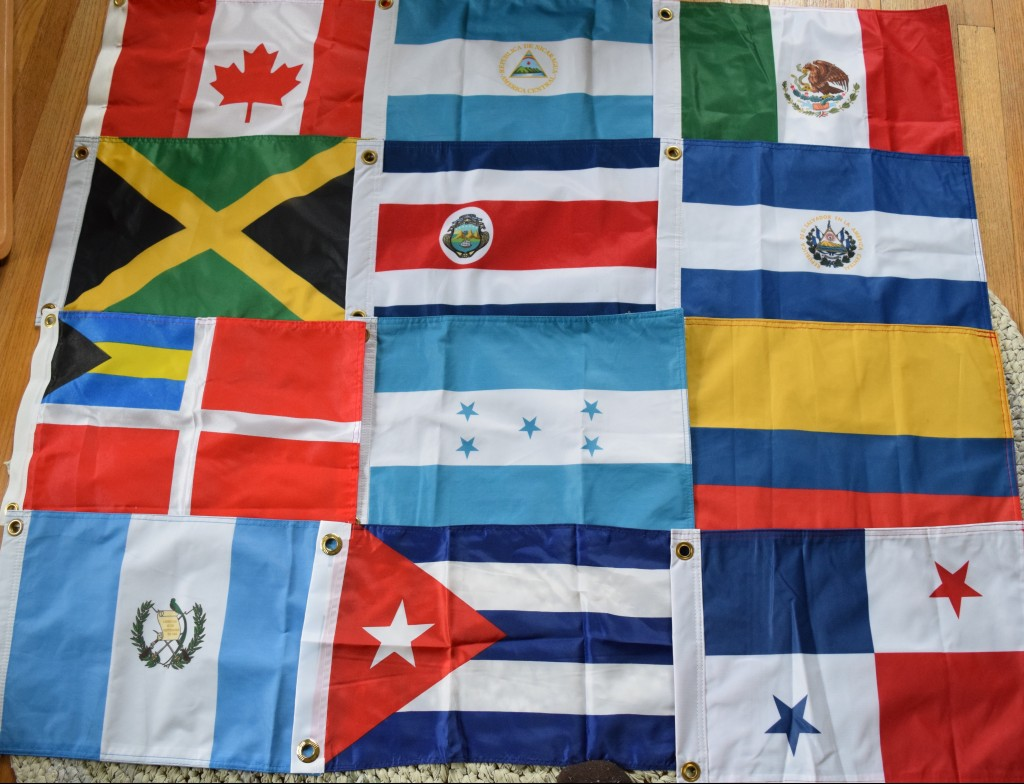 Courtesy flags. Are we going to Honduras? Who knows! But at least, if we do, we'll be polite.