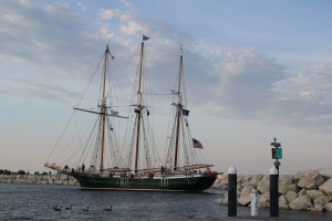 The Dennis Sullivan heading home right past our pier, first night in Milwaukee
