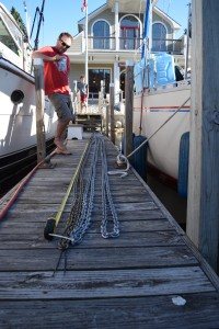 Measuring our anchor chain, Manistee
