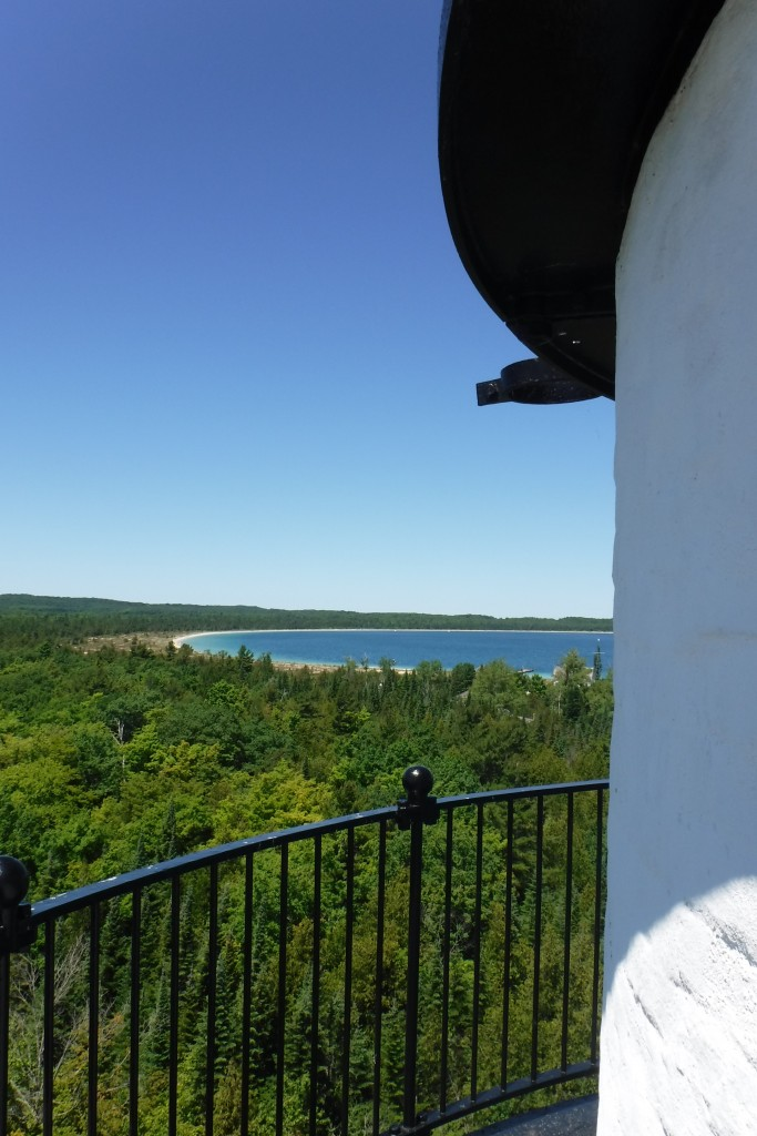 View of Crescent Bay from atop the lighthouse, South Manitou. Volunteers conduct tours on request.