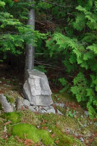 Natural totem rock on East Stuart Island, ON