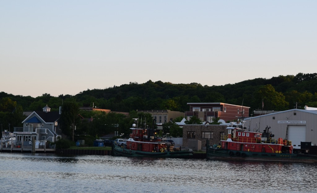 Tugs in Frankfort. The forward one, the Anne-Marie, never shut off her AIS and was calling to us for days.