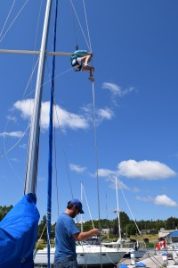 F goes up the mast to attach our flag halyard.