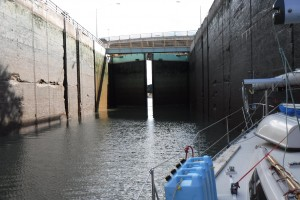 View from the bottom of the lock, as the gates begin to open