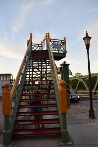 Stairway to nowhere. If a pedestrian wants to cross the canal when a lift bridge is up, they just climb the stairs and walk across.