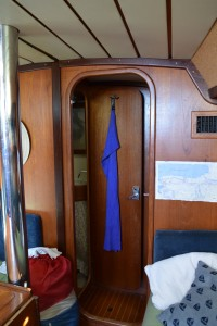 Looking toward the v-berth, with the door open to the bathroom