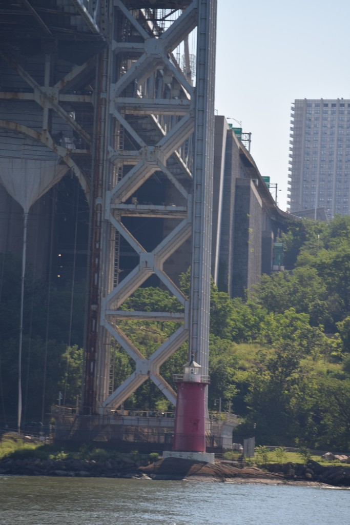 The little red lighthouse at the foot of the George Washington Bridge