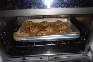 Baking cookies during our non-hurricane. It takes a long time when you can only fit nine in you oven at once.