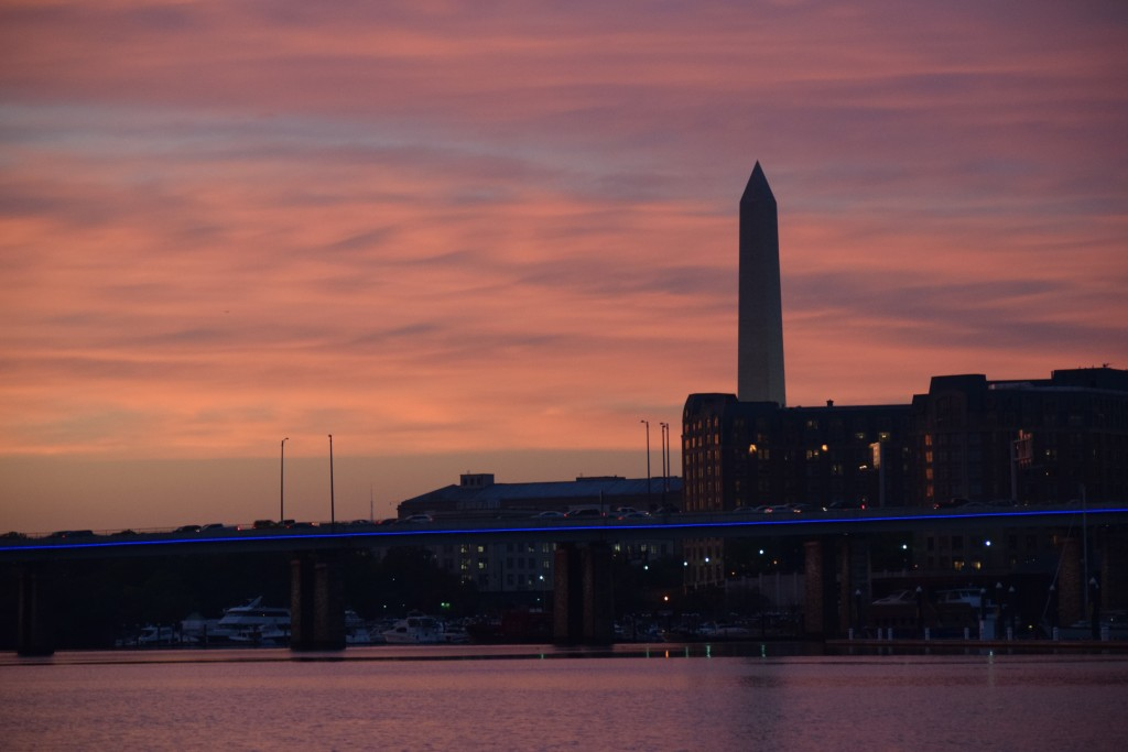 Sunset off the stern. We were so excited to be able to see the Washington Monument from the boat--until we realized that you can see the Washington Monument from pretty much everywhere.