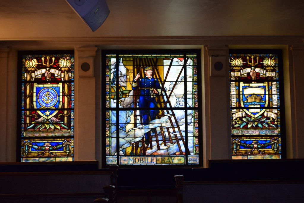 Nautical stained glass in the chapel at Navy