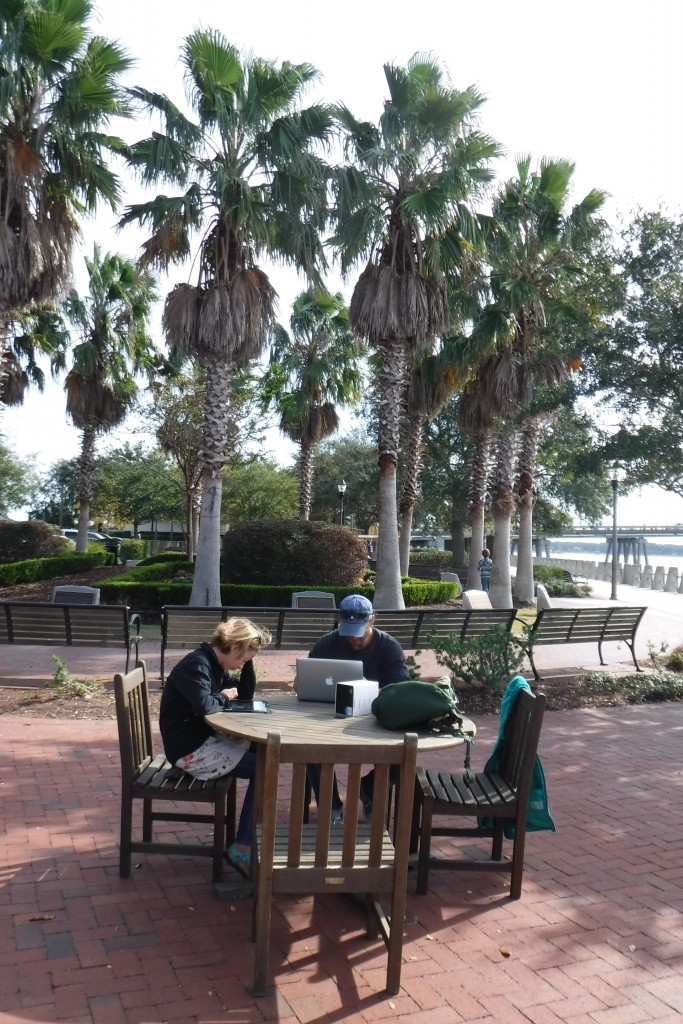 Making the most of the excellent free wifi; waterfront in Beaufort, SC