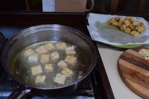 Frying up tofu on the gimbled stove: advanced cruising