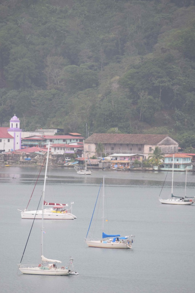 At anchor in Portobelo. Our boat is the one with the blue canvas.
