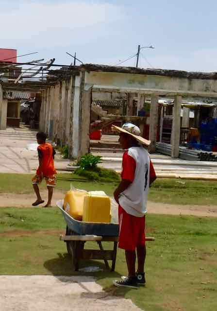 In Nargana, everyone gets their water from one communal tap. Mostly, I just liked this guy's hat: newspaper, with a cardboard ring to secure the newspaper and act as a sun shade.