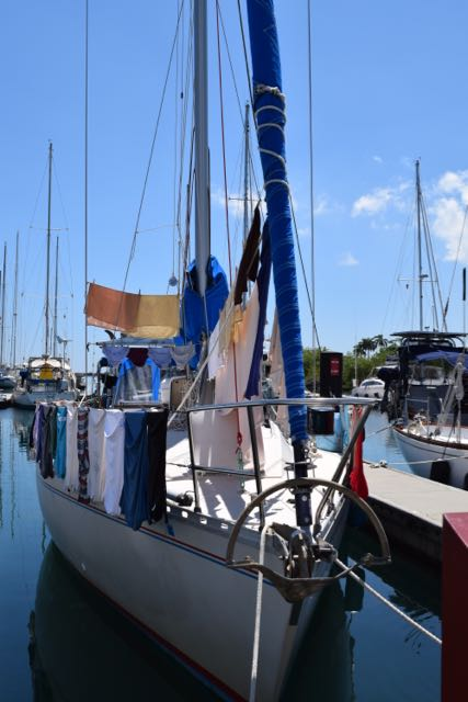 Laundry day at the marina. Pay for the washer, then hope it doesn't rain.