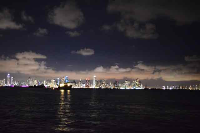 Panama City at night, Pacific side