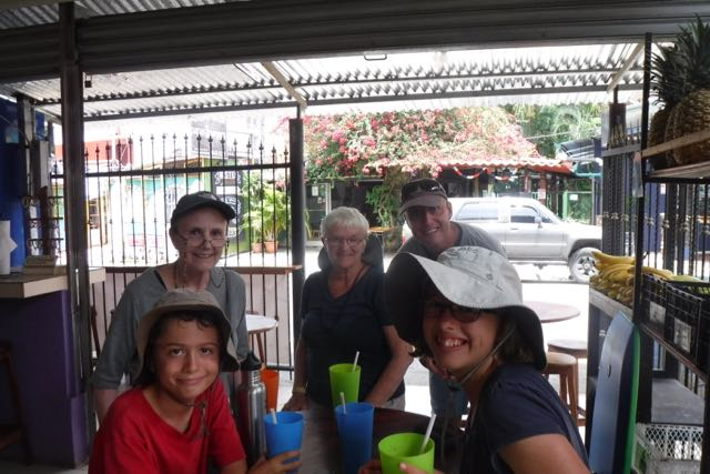 The crew having smoothies in Jaco