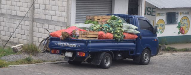 Produce truck. And don't think Guatemalans are so poor that all the veggies are organic, because they can't afford the pesticides; we saw lots of guys carrying sprayers on their backs, spraying the fields by hand.