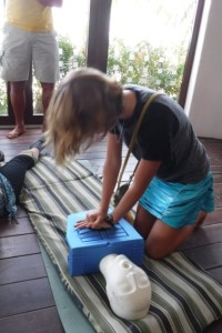 F works out her CPR technique