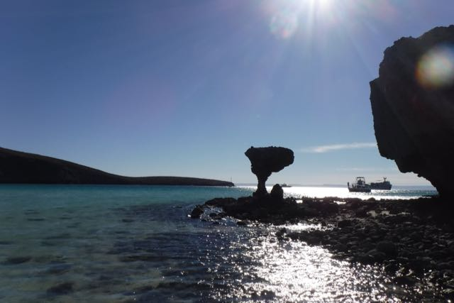 """The famous mushroom rock--""""El Hongo."""" It was knocked over by vandals a couple of years ago, but it's such an icon that it was rebuilt with rebar and concrete."""