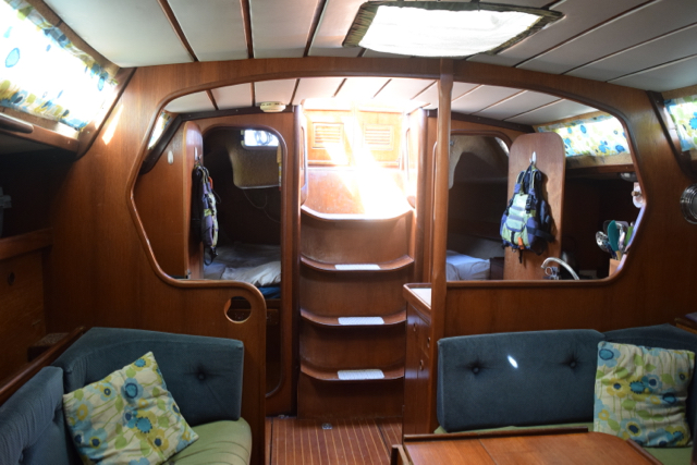 Looking aft, with both aft cabin doors open