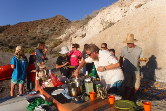 Beach potluck at Puerto Ballandra