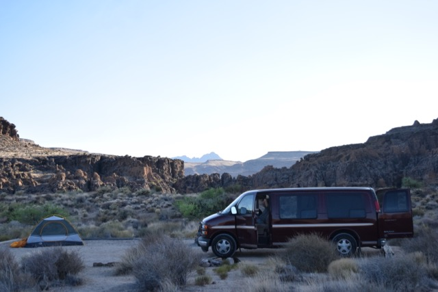 Camping setup in the Mohave